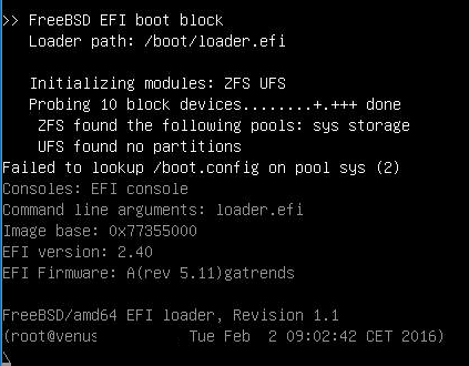 Venus: Semi-Manual FreeBSD 11-CURRENT AMD64 ZFS+UEFI Installation